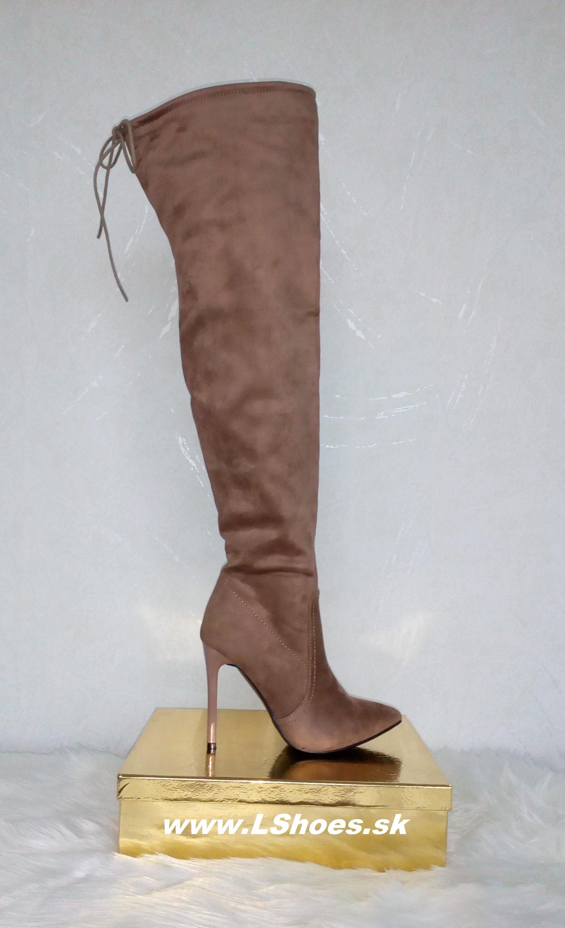 c6fb5d2d97 Dámske hnedé čižmy nad koleno na vysokom opätku