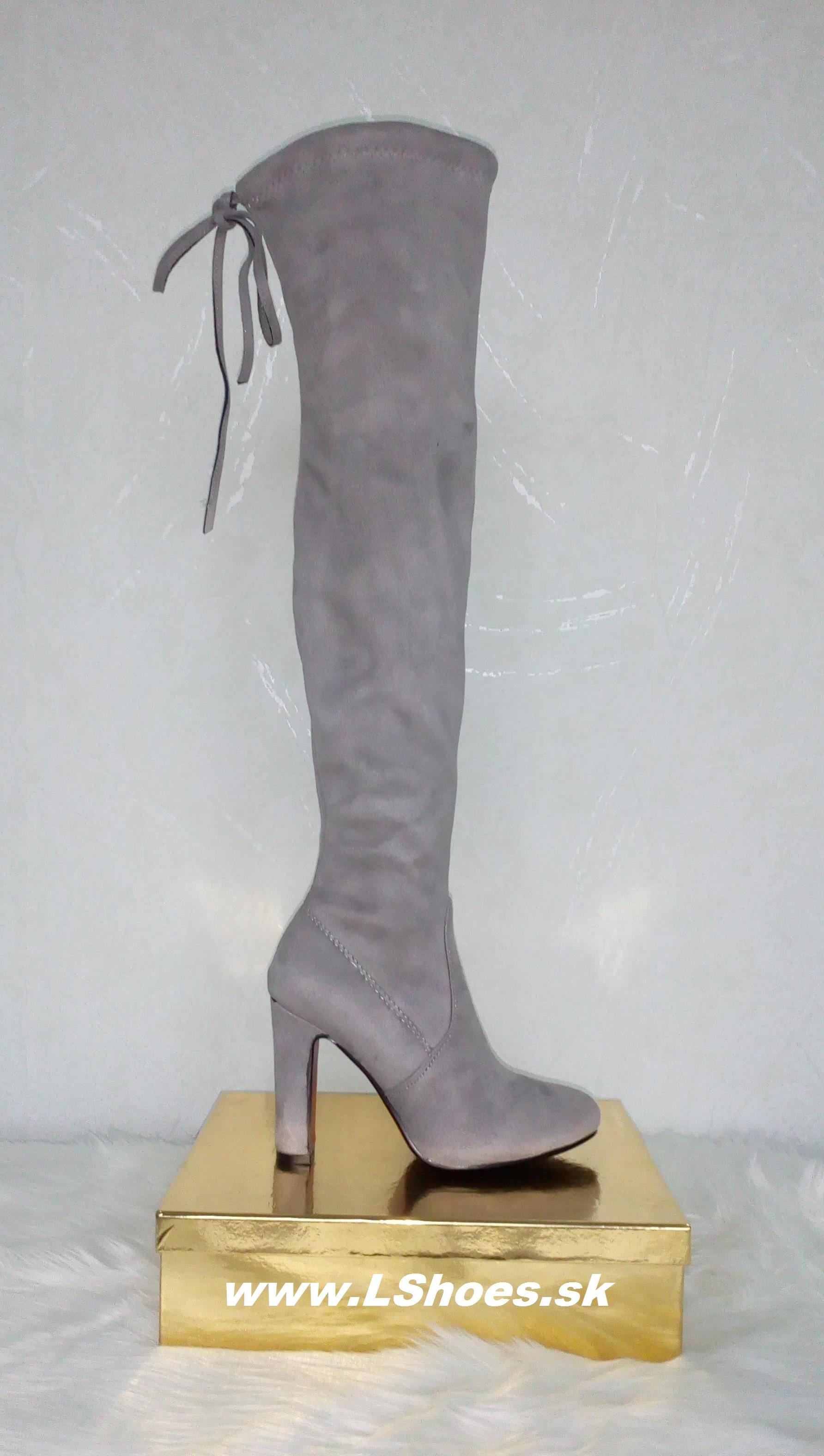 414af0099a188 Dámske sivé čižmy nad koleno na vysokom opätku   www.LShoes.sk