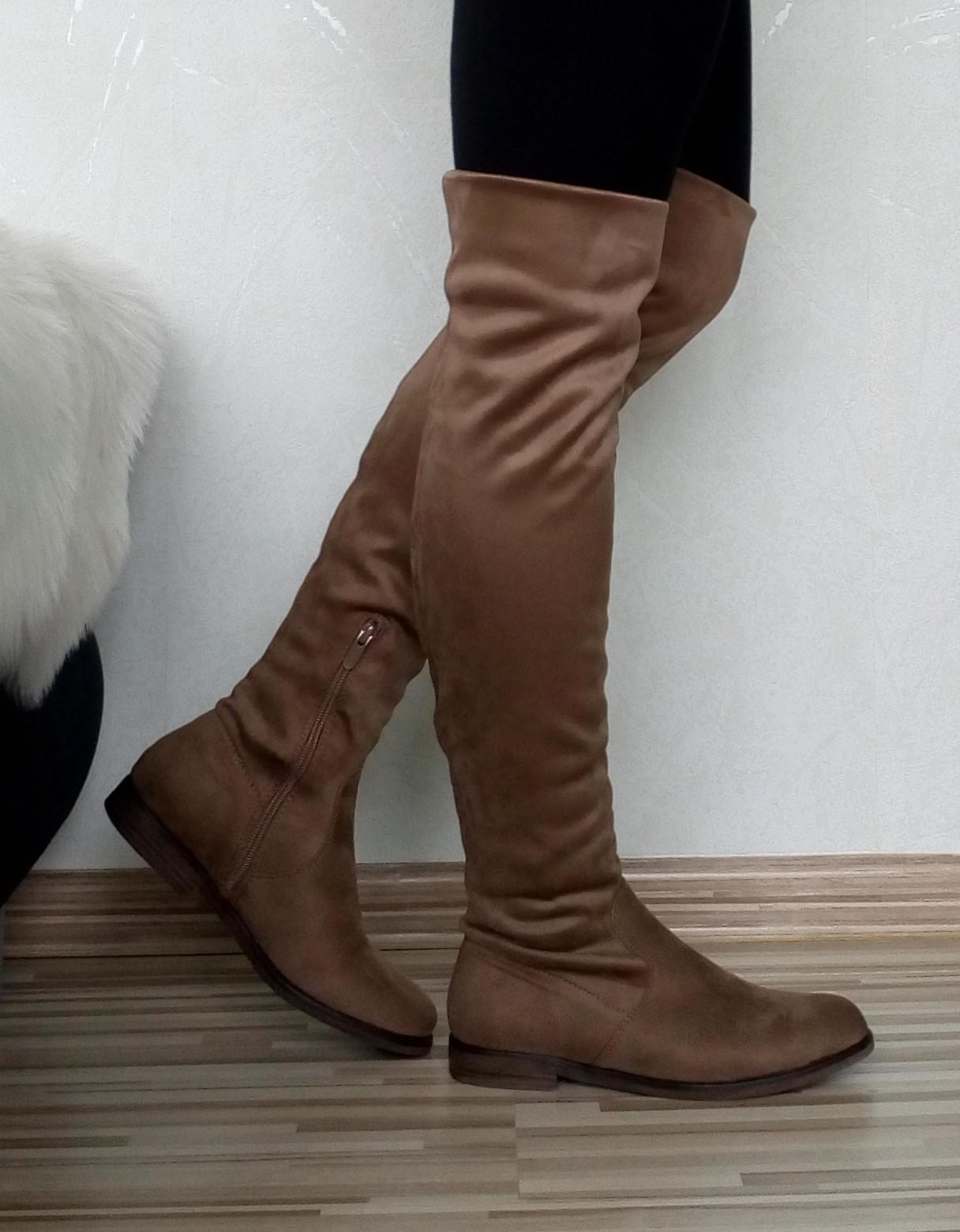 0d486ea282 Dámske hnedé čižmy nad koleno na nízkom opätku