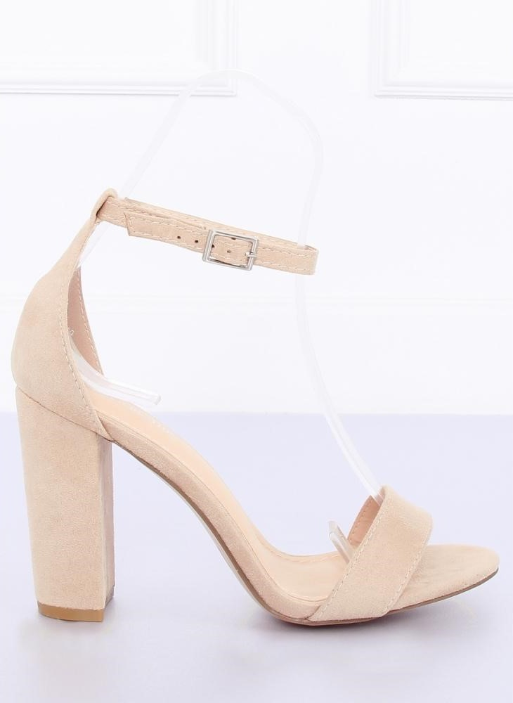 874c5288e Dámske béžové sandále na vysokom hrubom opätku - Na objednávku (do 7 dní)